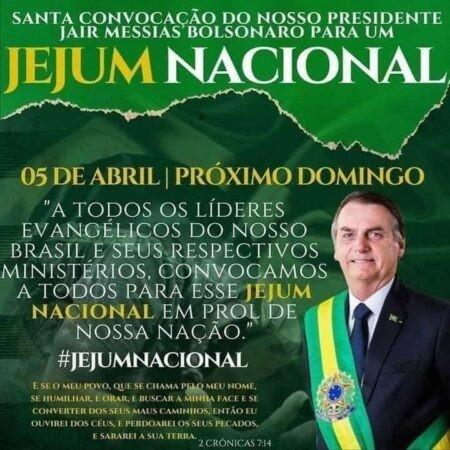 Bolsonaro convoca jejum para 'livrar o Brasil do coronavírus'